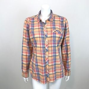 Eddie Bauer Button Down Shirt Orange Plaid Size L